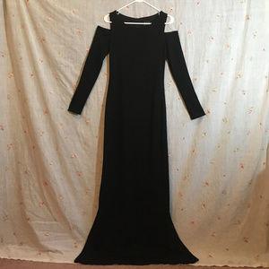 Floor length black dress by David Mini